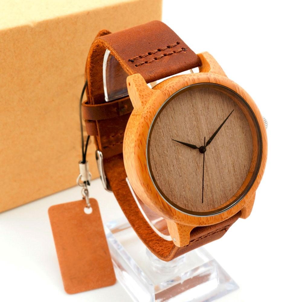 Unisex Wooden Watch With Genuine Cowhide Leather Band- Without Dials