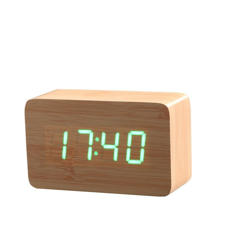 Wooden LED Alarm Clock with Temperature Sensor