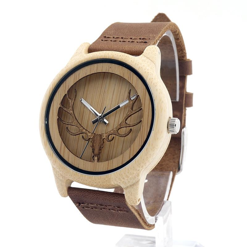 Unisex Wooden Watch with Genuine Leather Band - Deer Head Design