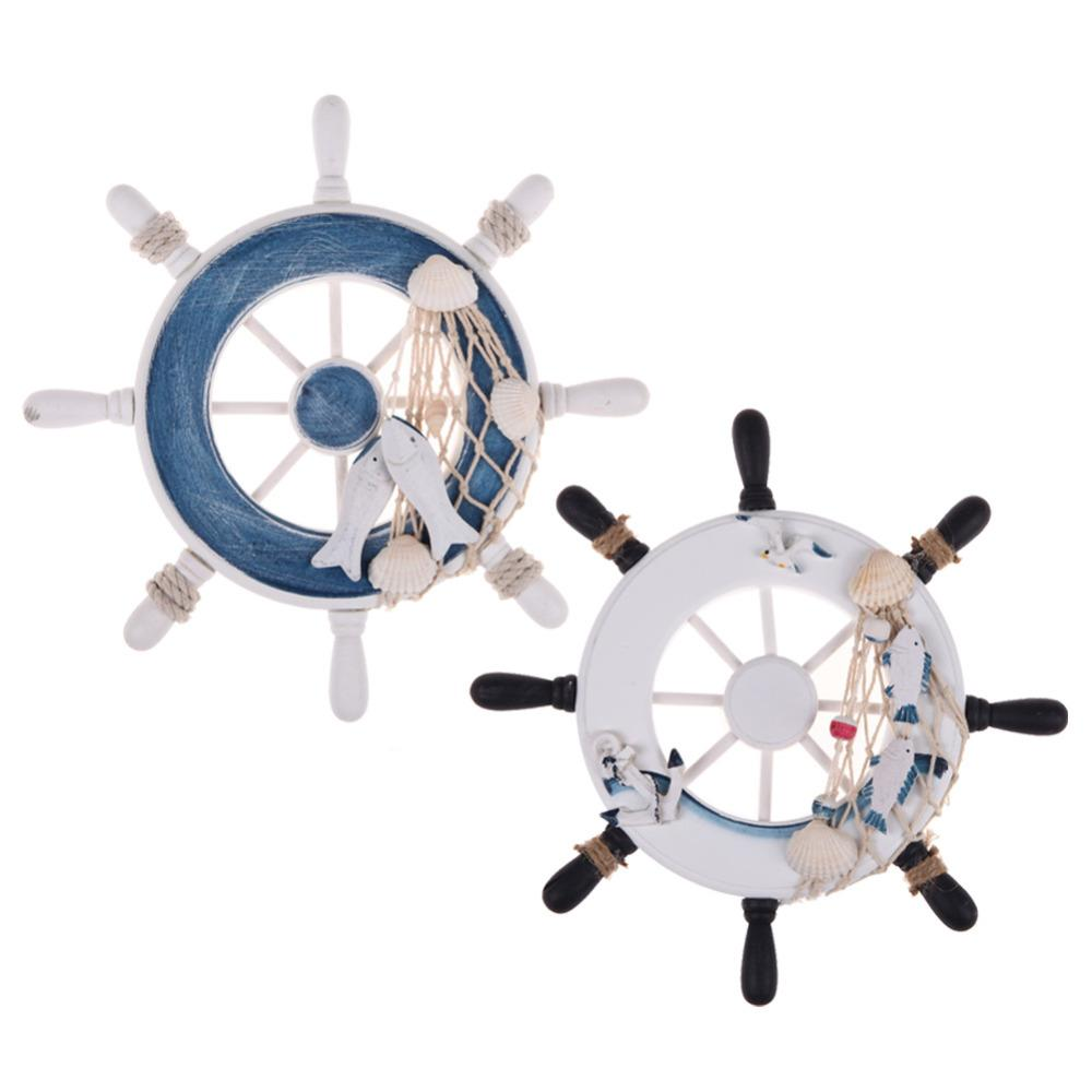 Boat Ship Wheel Wall Hanging – White/Blue