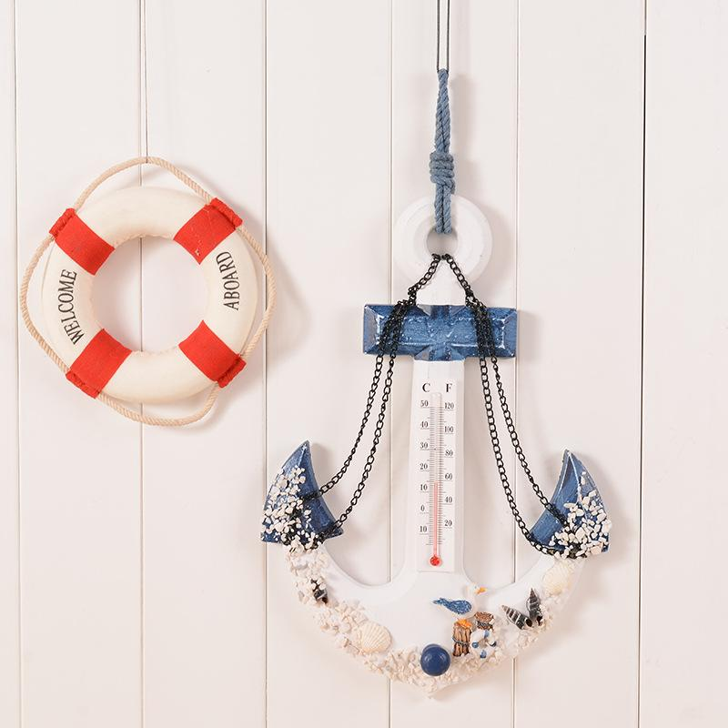 Wood Anchor Wall Hanging with Thermometer – Large Size