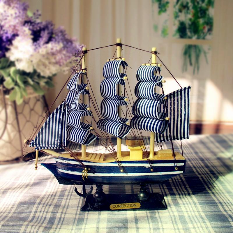 Wooden Sailing Ship Handmade - White/Blue