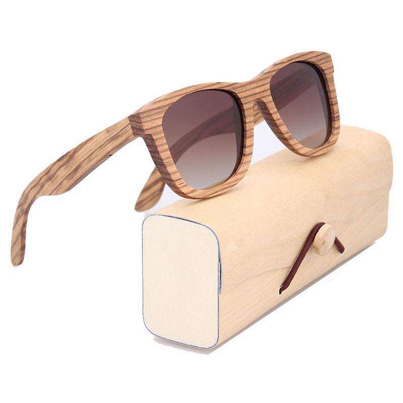 Square Handmade Zebrawood Sunglasses