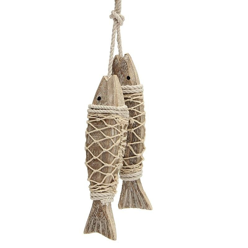 Hand Carved Wall Hanging Fish in Net - Rustic