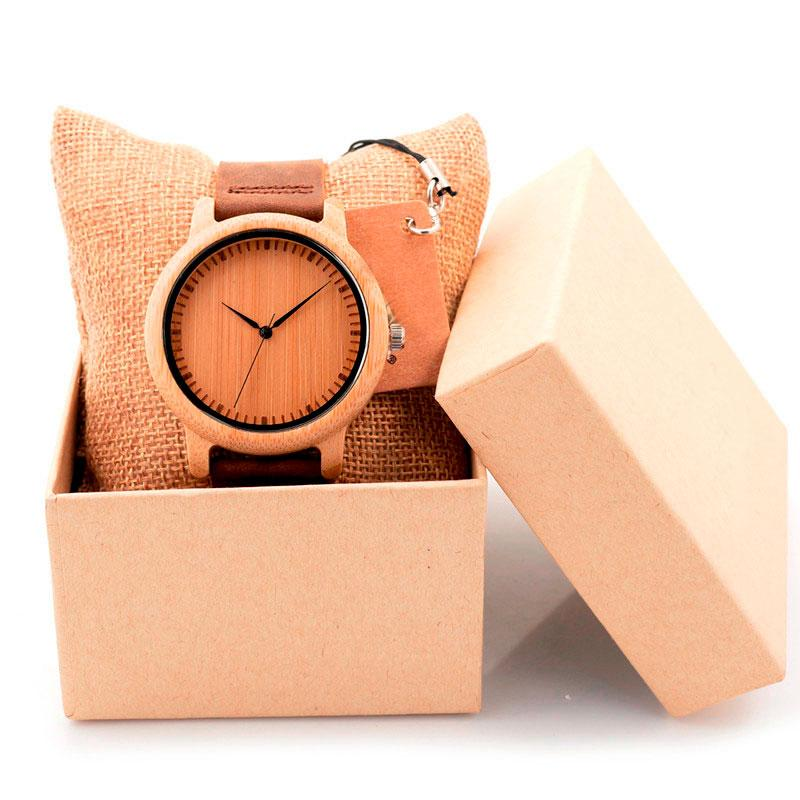 Unisex Wooden Watch With Real Leather Band - Plain with dials
