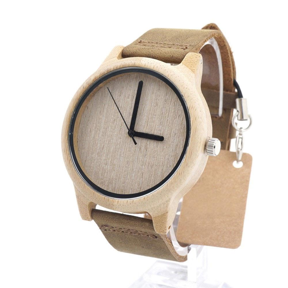 Unisex Wooden Watch With Real Leather Band – Plain without dials