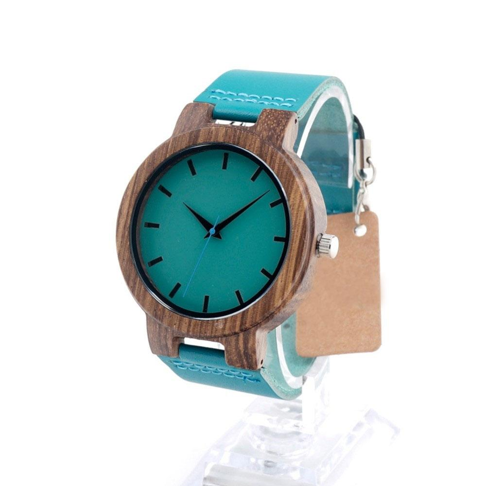 Unisex Zebra Wood Watch With Blue Leather Band