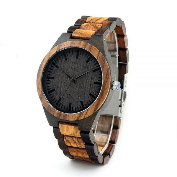 Men's Zebra / Ebony Wood Watch With Wooden Band