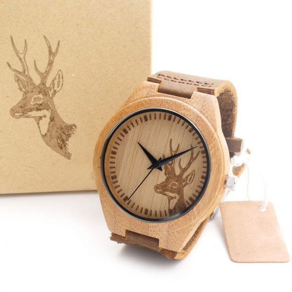 Unisex Wooden Watch With Real Leather Band - Deer, Elk or Wolf