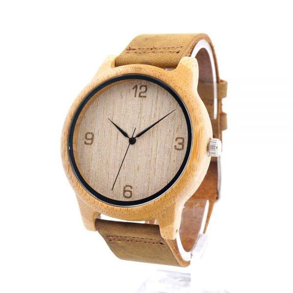 Unisex Wooden Watch with Genuine Leather Band – Natural Retro