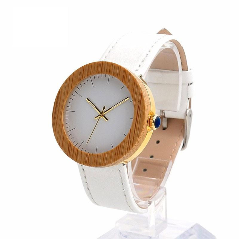 Women's Wooden Watch with Genuine White Leather Band
