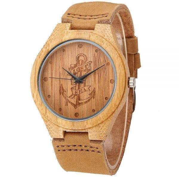 Unisex Wooden Watch with Genuine Leather Band - Lost at Sea Anchor