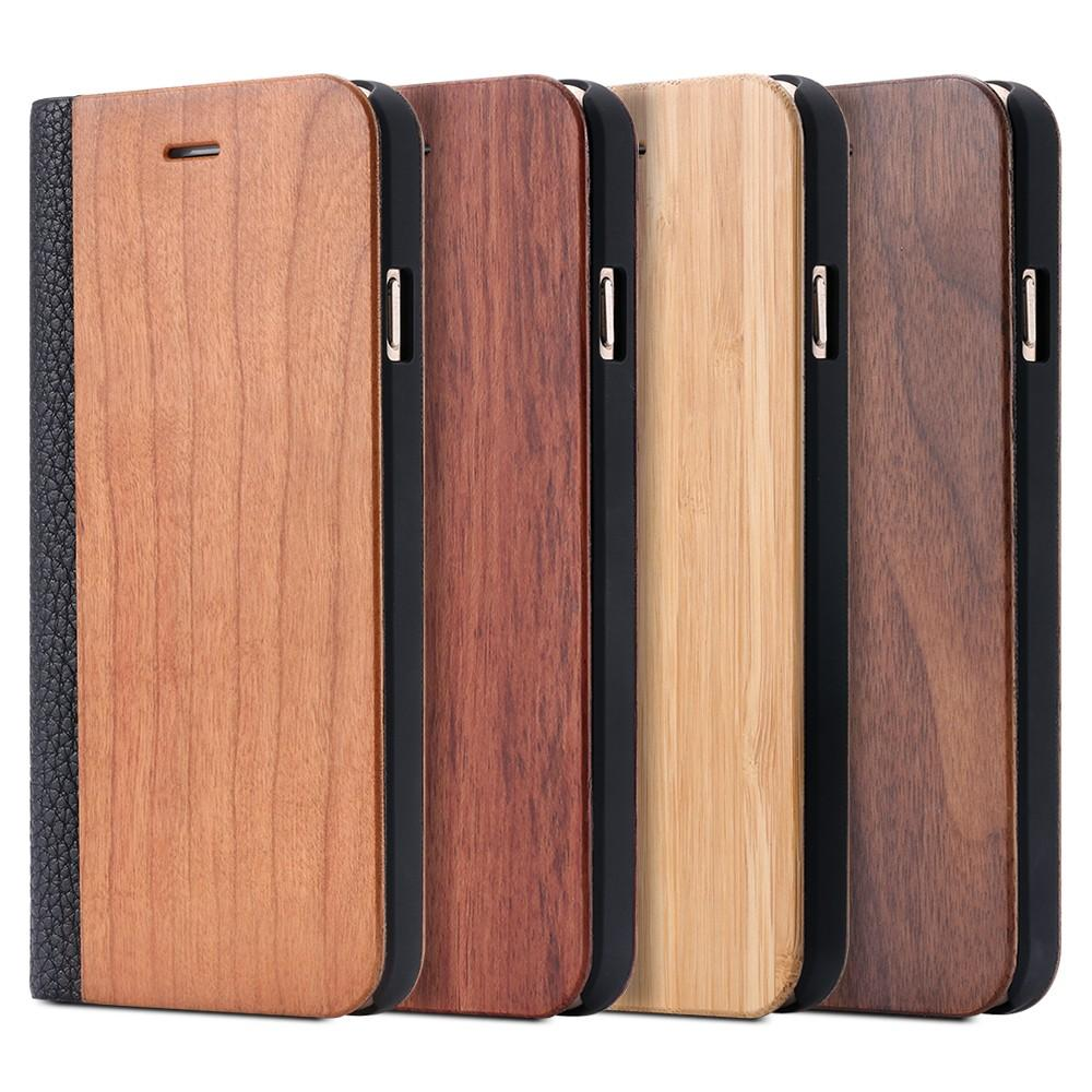 Wooden Flip Case with Retro Luxury Leather For Apple iPhone 6, 6S, 7, 7 Plus including card slot