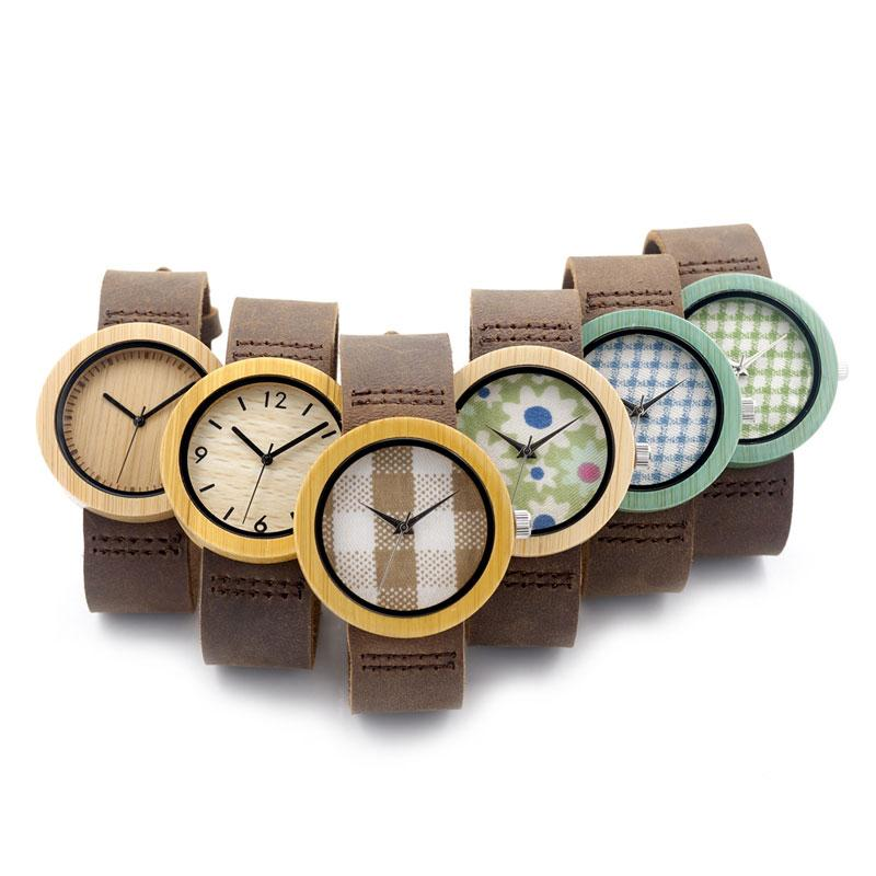 Women's Wooden Watch with Genuine Leather Band - Various Designs
