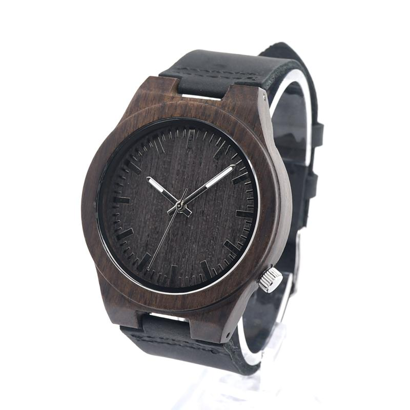 Men's Wooden Watch with Genuine Leather Band – Natural Black/Brown